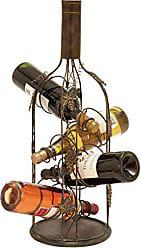 Deco 79 Grape Vine-Designed 4-Bottle Metal Wine Rack, 24 H x 9 L, Textured Black Finish