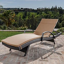 Noble House Christopher Knight Home 296781 Salem Outdoor Chaise Lounge, Brown with Mocha