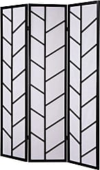 Round Hill Furniture 3-Panel Climbing Screen Room Divider, Black