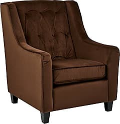 Office Star AVE SIX Curves Tufted Back Armchair with Espresso Finish Solid Wood Legs, Chocolate Velvet Fabric