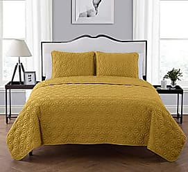VCNY Home VCNY Home King Size Quilt Set in Gold Eye-Popping Geometric Pattern Beautiful Blanket 3 Pc Set w/ 2 Shams