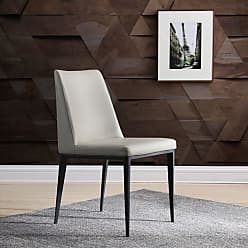 Whiteline Carrie Faux Leather Dining Chair - Set of 2 - DC1478-LGRY