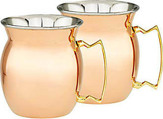 Old Dutch International 2P468 2 Pc.16 Oz. 4 H Two-Ply Solid Copper/Stainless Steel Moscow Mule Mugs, 16-Oz