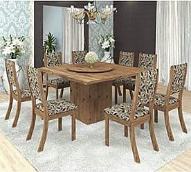 Viero Conjunto para Sala de Jantar Mesa e 8 Cadeiras Viero Lara Avelã/Medina