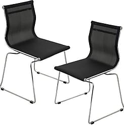 LumiSource WOYBR CH BK2 Mesh Fabric, Chrome Mirage Chair Stackable (Set of 2), Black