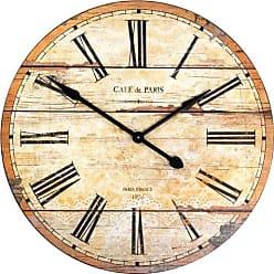 Zentique 32 in. Paris Round Wooden Wall Clock