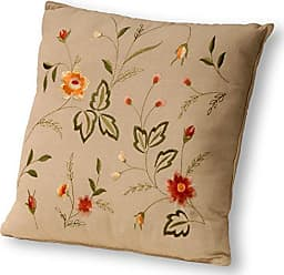 National Tree Company National Tree 16 Inch by 16 Inch Decorated Cream Pillow with Embroidered Floral Pattern (GADP30-16C)