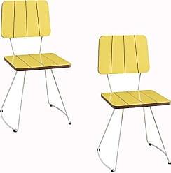 Daf Mobiliário Kit 2 Cadeira Costela Meia Lua Amarelo - Daf Mobiliário