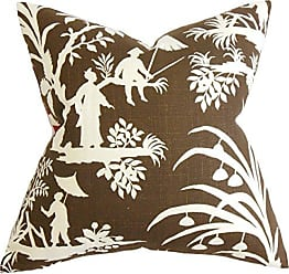 The Pillow Collection Liya Floral Pillow, Brown