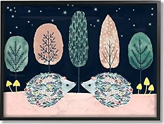 Stupell Industries The Stupell Home Décor Collection Holiday Colors Red and Green Trees Floral Porcupines at Night Framed Giclee Texturized Art, 16 x 20, Multi