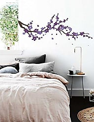 The Decal Guru Large Japanese Cherry Blossom Tree Branch Vinyl Decal Wall Sticker for Girls Flowery Room Decor (Brown, Purple, Lavender, 24x60 inches)