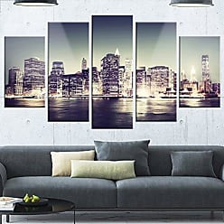 DESIGN ART Designart MT14609-373 Black & White NYC Night Panorama - Extra Large Cityscape Glossy Metal Wall Art,Black / White,60x32