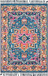 Surya Tanya Blue and Navy Updated Traditional Area Rug 93 x 121