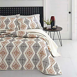 Revman International Azalea Skye Cusco Rhombus Quilt Set, Full/Queen, Gray/Beige