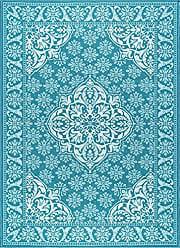 Tayse Francesca Traditional Oriental Teal Non-Skid Rectangle Area Rug, 4 x 5