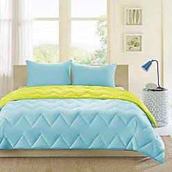 INTELLIGENT DESIGN Trixie Reversible Down Alternative Comforter Mini Set, Blue/Green, Full/Queen