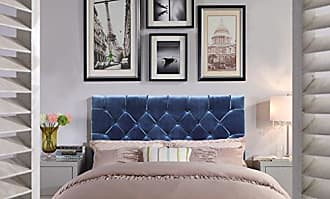Iconic Home FHB9027-AN Rivka Headboard Velvet Upholstered Diamond Button Tufted Modern Transitional Full/, Queen, Navy