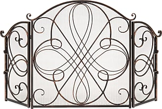 Best Choice Products 3-Panel Wrought Iron Metal Fireplace Screen Cover - Antique Bronze