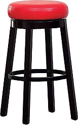 FURNITURE OF AMERICA Barthe Leatherette and Wood Swivel Bar Stool, Red, Set of 2