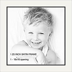 Art to Frames Art to Frames Double-Multimat-1453-754/89-FRBW26079 Collage Photo Frame Double Mat with 1 - 18x18 Openings and Satin Black Frame