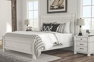 Ashley Furniture Jennily King Bed with 2 Nightstands, Whitewash