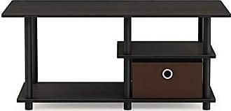 Furinno 15028EX/BK/DBR Turn-N-Tube Toolless TV Stand up to 45, Espresso/Black/Dark Brown