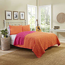 Ellery Homestyles Vue 15973BEDDKNGCRL Zuma Beach 102-Inch by 90-Inch Reversible 3-Piece King Quilt Set, Coral