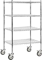 Salsbury Industries Mobile Wire Shelving Unit, 36-Inch Wide by 69-Inch High by 24-Inch Deep, Chrome