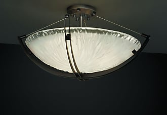 Justice Design Group GLA-9712 Crossbar Semi-Flush Round Bowl Shade with White Frosted Glass - GLA-9712-35-WTFR-MBLK-LED5-5000