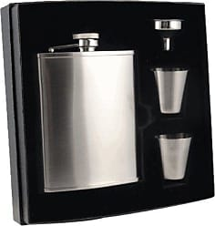 Visol Products VisolEdge Deluxe Flask Gift Set, Satin Finish, 6-Ounce