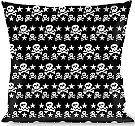 Buckle Down Hibiscus Outline Black//White Throw Pillow Multicolor