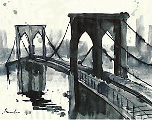 Portfolio Canvas Decor Portfolio Canvas Decor Portfolio Décor Canvas Print Wall Art-Brooklyn Bridge by Emanuel Ologeanu Stretched and Wrapped, Ready to Hang-22x28, 22x28