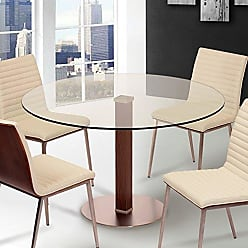 Armen Living LCCADIB201TO Café Dining Table with Clear Glass and Brushed Stainless Steel Finish