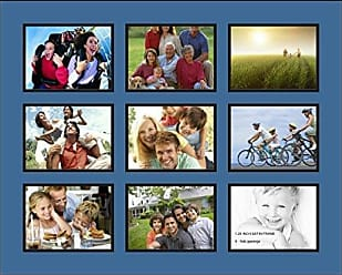 Art to Frames Double-Multimat-1051-817/89-FRBW26079 Collage Photo Frame Double Mat with 9-6x8 Openings and Satin Black Frame