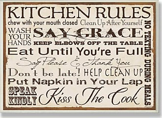 The Stupell Home Décor Collection Stupell Home Décor Kitchen Rules Creme Typography Kitchen Wall Plaque, 10 x 0.5 x 15, Proudly Made in USA