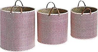 Creative Co-op Creative Co-op Red Chevron Palm Leaf Laundry Baskets with Leather Handles (Set of 3 Sizes) 62-Non-Food Storage - Wicker