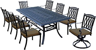 Oakland Living Outdoor Oakland Living Morocco Aluminum 9 Piece Patio Dining Set with Chairs Brown - 7207T-7215C6-7216S2-D54-17-AB