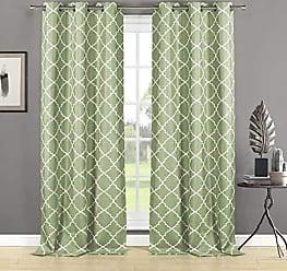 Duck River Textile Home Maison Nataly Geometric Grommet Window Curtain 2 Panel Drapes, 38 x 84, Sage Green