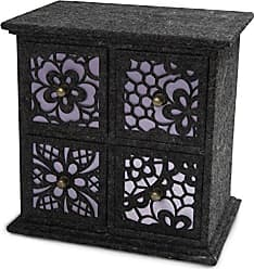 Pavilion Gift Company 23053 Charcoal Felt and Lavender 4-Drawer Chest, 8-Inch