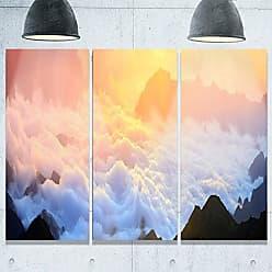 DESIGN ART Designart MT9837-3P Foggy Carpathian Hills Panorama Landscape Photo Metal Wall Art (3 Panels), 28 H x 36 W x 1 D 3P, Red