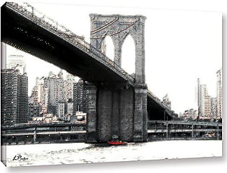 ArtWall Linda Parkers NYC Brooklyn Bridge Gallery-Wrapped Canvas Artwork, 16 by 24