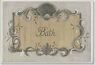 The Stupell Home Décor Collection The Stupell Home Decor Collection Bath Grey and Tan Scallop Shell and Scroll Bathroom Wall Plaque