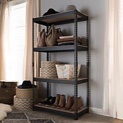 Baxton Studio Cody Metal 4-Shelf Multipurpose Shelving Rack - BR10-BLACK-SHELF
