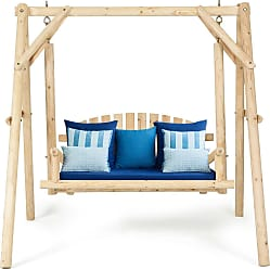Overstock Costway A-Frame Wooden Porch Swing Outdoor garden rural Torched Log Curved Back Bench
