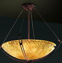 Justice Design GLA-9721-35-AMBR - Crossbar 21 in. Pendant Bowl - Round Bowl Shade with Amber Glass Brushed Nickel - GLA-9721-35-AMBR-NCKL-LED3-3000