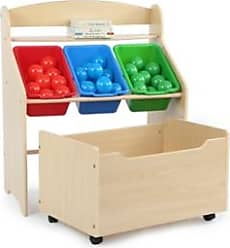 Ashley Furniture Kids Primary Three-Tier Storage Organizer with Rolling Toy Box, Natural