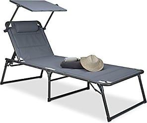 Relaxdays Gartenliege Klappbar Sonnenliege Dach Deckchair Sonnenschutz Verstellbar HBT 37