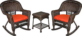 Jeco W00201R-A_2-RCES018 3 Piece Rocker Wicker Chair Set with with Red Cushion, Espresso