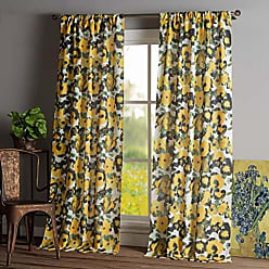 Duck River Textile Kensie - Keila Printed Floral Yellow Sunflower Pole Top Window Curtains for Living Room & Bedroom - Assorted Colors - Set of 2 Panels (38 X 84 Inch - Multi)