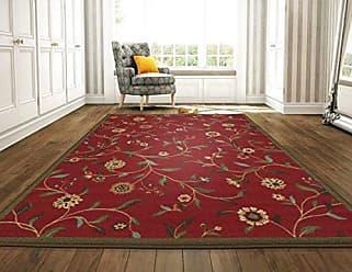 Ottomanson Floral Garden Design Modern Area Rug, 118 L, Dark Red
